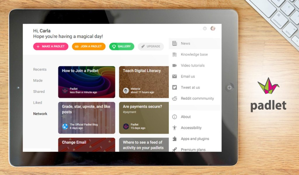 Padlet (web, iOS, Android, Kindle)