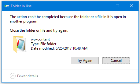 "How to Fix the Error ""The Action Can't Be Completed Because the Folder or a File in it is Open in Another Program"""